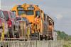 GP38-2 locomotives 1804 and 1802 bring the Polar Bear Express into Moosonee.