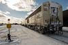 Polar Bear Express along station platform in Moosonee beside a cut of tank cars.