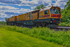Loram rail grinding unit LMIX-606 on CPR track in Belleville Ontario 2020 June 7 HDR efx balanced from front of power unit