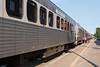 Polar Bear Express passenger coaches in Cochrane. Coach 615 in foreground.