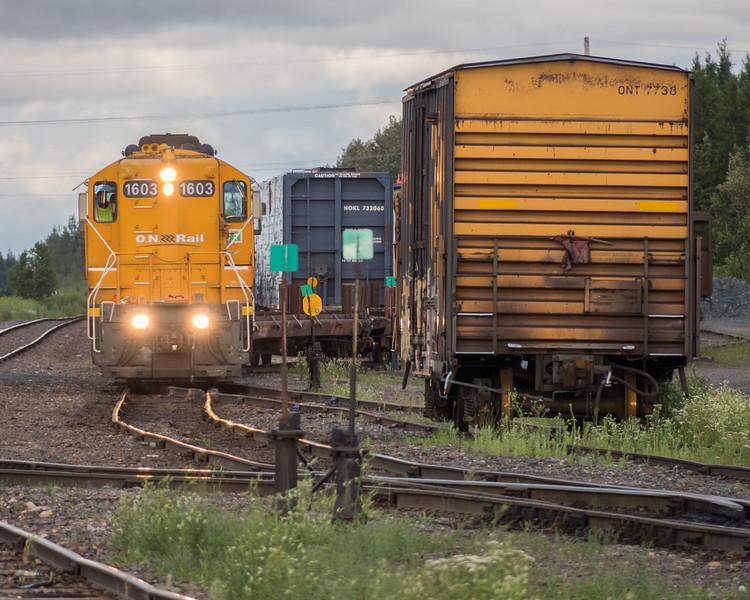 GP9 locomotives 1603 and 1601 working in Cochrane yard.
