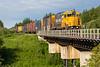 GP38-2 1800 brings Ontario Northland Railway freight train 419 into Moosonee 2016 July 29th.