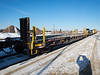 Flatcars and locomotives at the head end of the Polar Bear Express in Cochrane.