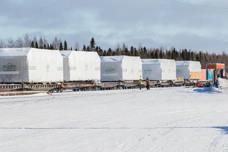 Guildcrest homes destined for Attawapiskat arrive in Moosonee on freight 419.
