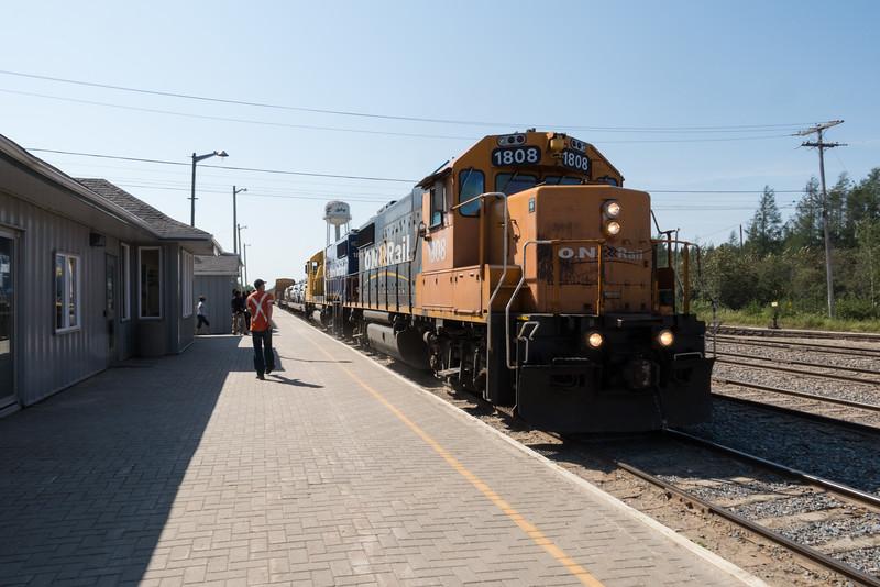 Polar Bear Express coming along station platform in Moosonee.