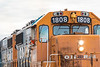 Gp38-2 1808 brings the Polar Bear Express along the station platform in Cochrane.
