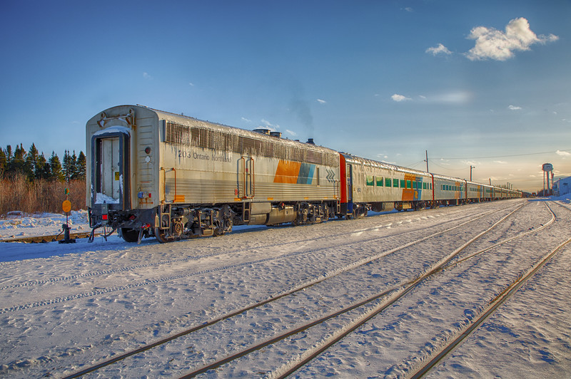Long Polar Bear Express train in Moosonee. HDR efx bright exposure minus 20.