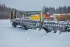 Flatcars (chain cars) ready for tomorrow's southbound Polar Bear Express.