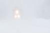 Polar Bear Express approaching Moosonee during a snow storm.