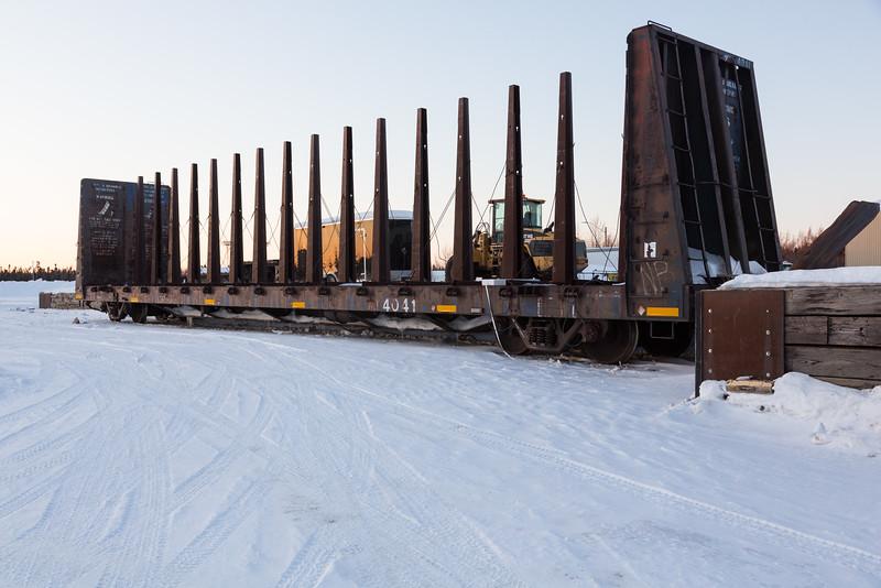Centre post bulkhead car ONT 4041 along Airport Road in Moosonee.