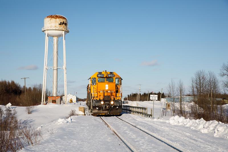 GP38-2 1802 at the head of the Polar Bear Express.