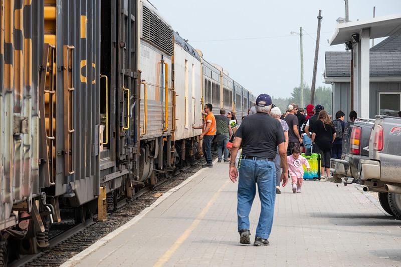Polar Bear Express along platform at Moosonee station.