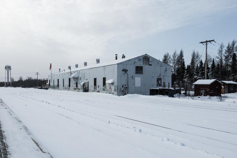 Diesel shed in Moosonee.