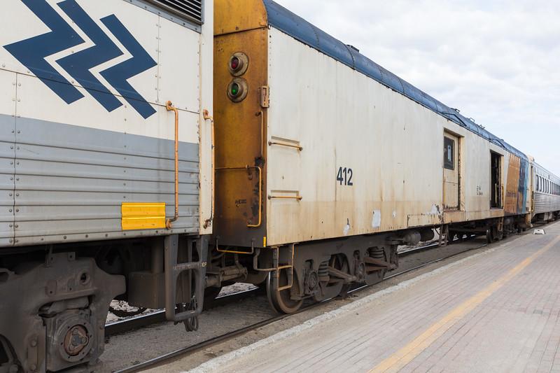 Ontario Northland Railway baggage car 412 in Cochrane.