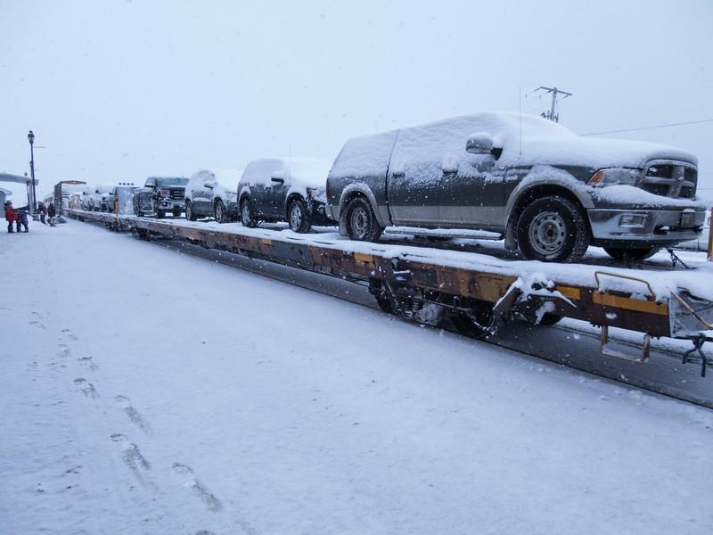 Polar Bear Express, flatcars for vehicles in Cochrane.