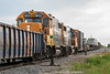 GP38-2s 1802 and 1808 switching in Moosonee.