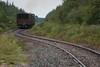 Rock train behind GP38-2 1808 departing Moosonee.
