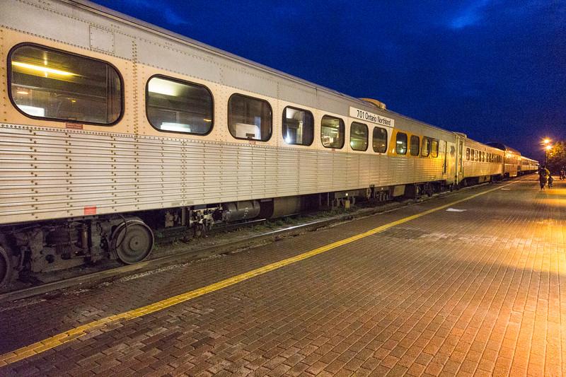Polar Bear Express in Cochrane station at night. Snack car 701.