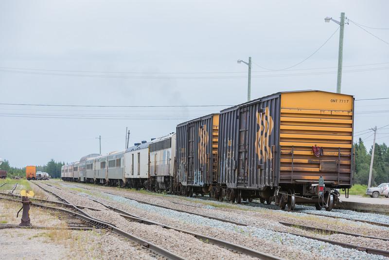 Polar Bear Express passenger consist along station platform in Moosonee.