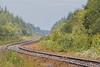 Polar Bear Express around the corner coming down the tracks to Moosonee.