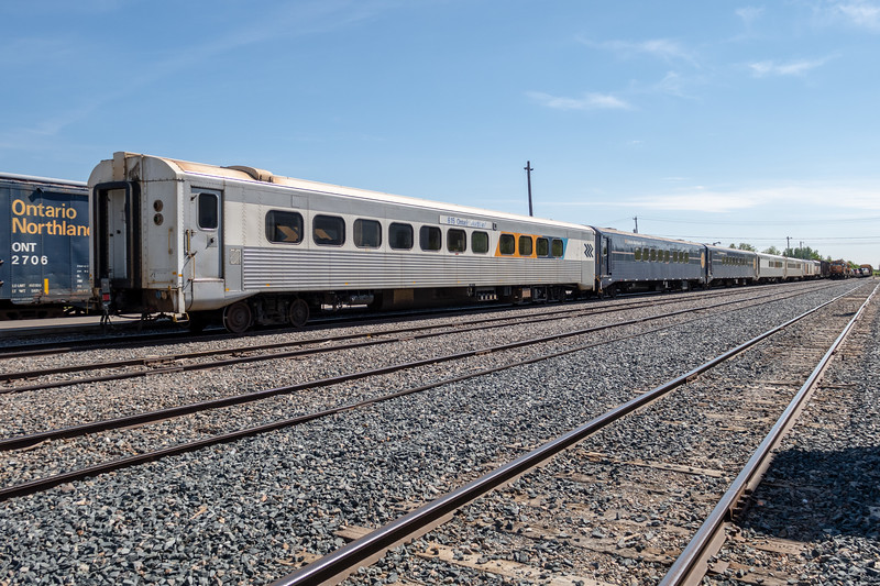 Polar Bear Express along platform in Moosonee 2018 June 22.