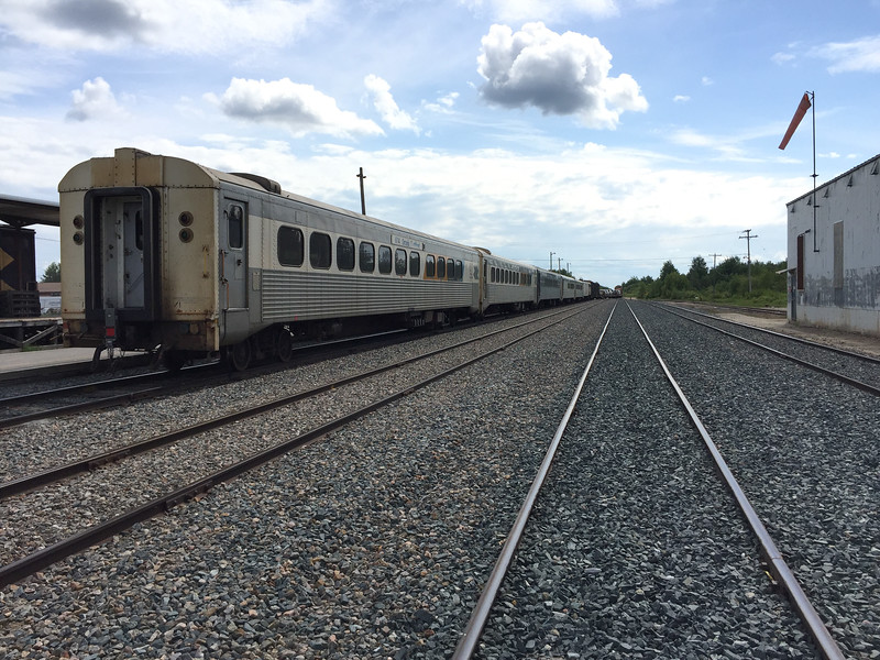 2017 July 2nd Polar Bear Express in Moosonee station. Four coaches and snack car. No dome car.