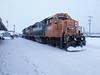 GP38-2 1808 at head of Polar Bear Express pulling along station track in Cochrane.