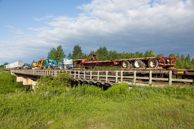 Freight 419 crossing Store Creek in Moosonee.