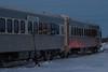 Polar Bear Express coaches departing Moosonee. 615, 603, 601.
