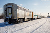 Polar Bear Express passenger consist. Nine coaches, two snack cars, two APUs plus baggage, boxcars and flatcars. Long train for people returning from Mushkegowuk Challenge Cup hockey tournament in Timmins.