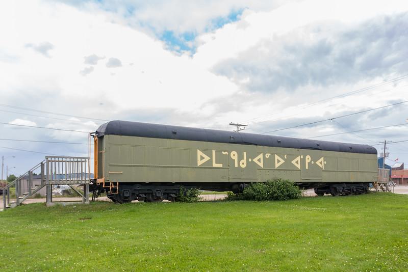 Former baggage car used as a museum in Moosonee.