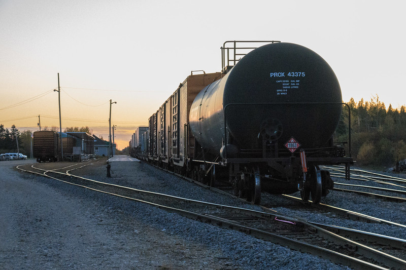 Freight at Moosonee station ready to head south.