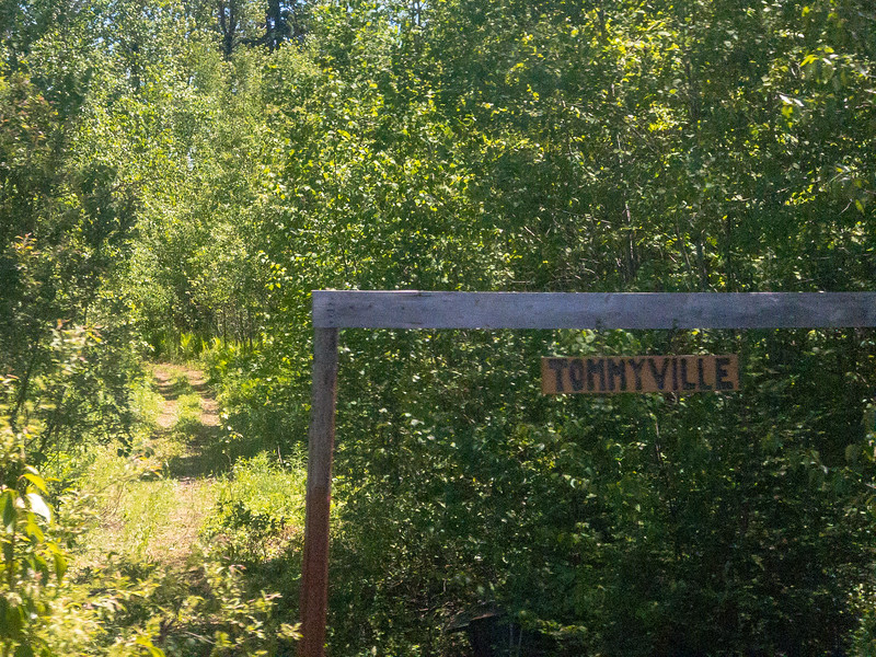 Tommyville sign south of Moosonee 2018 June 24.