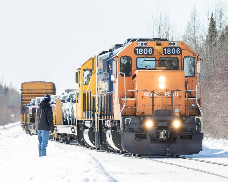 GP38-2 1806 leads the Polar Bear Express into Moosonee.