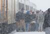 In Moosonee, passengers leaving the Polar Bear Express.