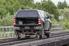Hirail truck on Store Creek bridge.