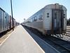 Polar Bear Express along station platform in Moosonee. View from rear of train