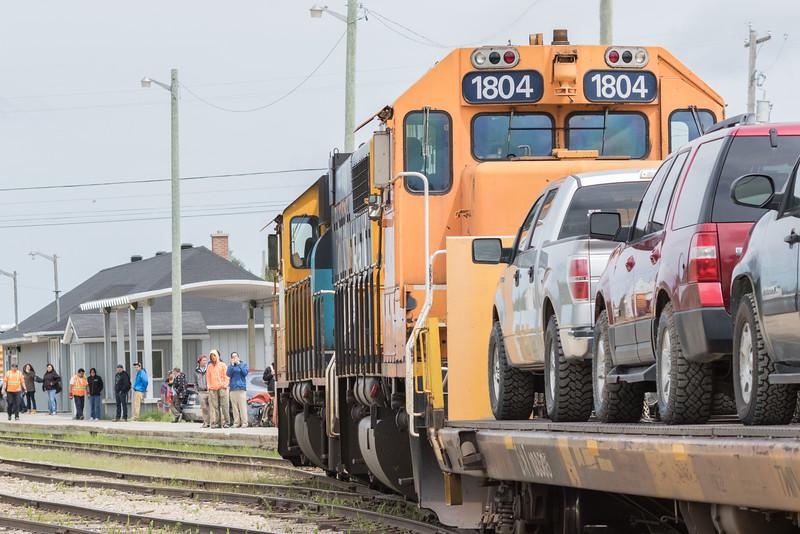 Polar Bear Express heads into Moosonee station behind GP38-2s 1802 and 1804.