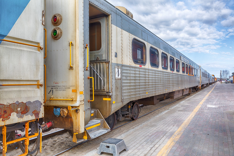 Short passenger consist for the Polar Bear Express: three coaches and snack car. HDR efx bright.