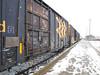 Polar Bear Express in Moosonee train station in light blowing snow.