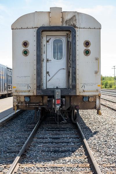 Rear of coach 615 in Moosonee 2018 June 22.
