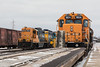 GP9s 1601 and 1603 beside GP38-2s 1804 and 1802 in Cochrane.