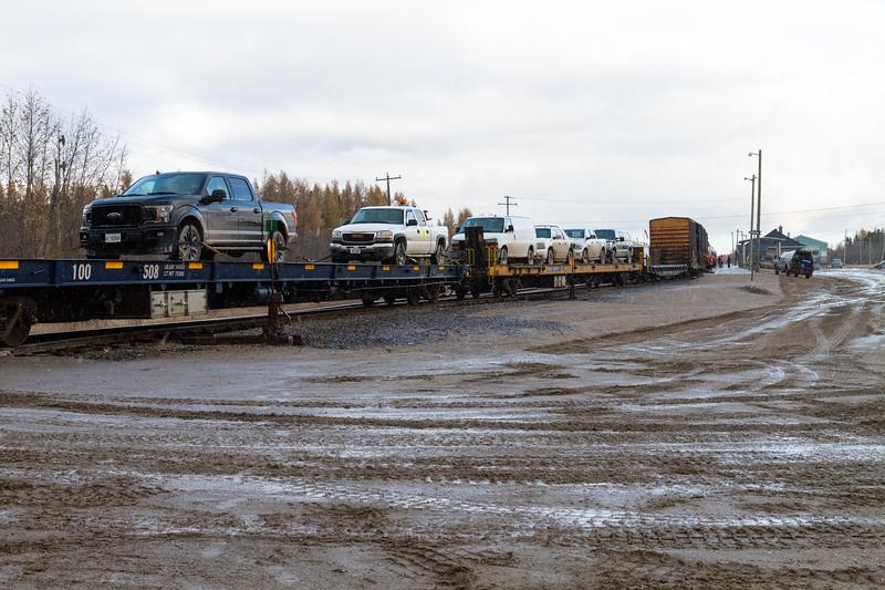 Flatcars for passenger vehicles in Moosonee