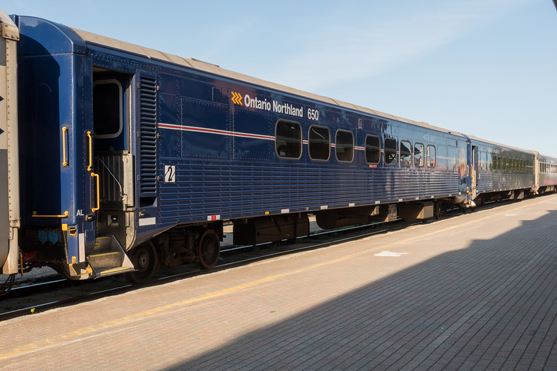 Refurbished coaches 650 and 651 in Cochrane. 2017 August 24th.