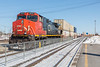 CN C44-9W locomotive 2676 with a container train at Belleville Ontario 2019 February 16