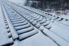 Snow on railway bridge in Moosonee.