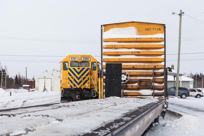 GP40-2 2201 beside the Polar Bear Express in Moosonee.
