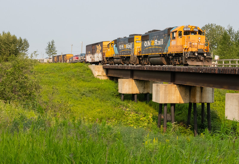 GP38-2 locomotives 1808 and 1802 at the head of the southbound Polar Bear Express in Moosonee 2018 August 12.