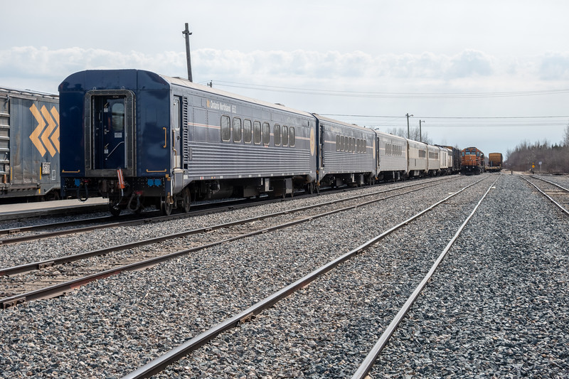 Polar Bear Express in Moosonee. Engines in freight service at right.