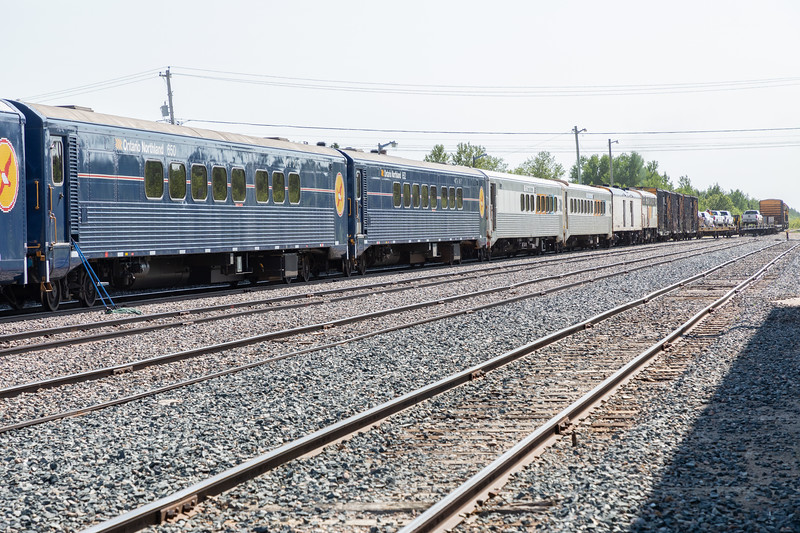 Most of passenger consist of Polar Bear Express. Coach 615, snack 702, Coaches 652, 650 and 654.